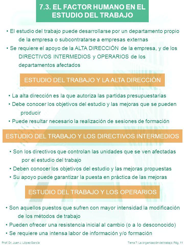 Tema 7: La organización del trabajo. Pág. 11Prof. Dr. Juan J. López García El estudio del trabajo puede desarrollarse por un departamento propio de la
