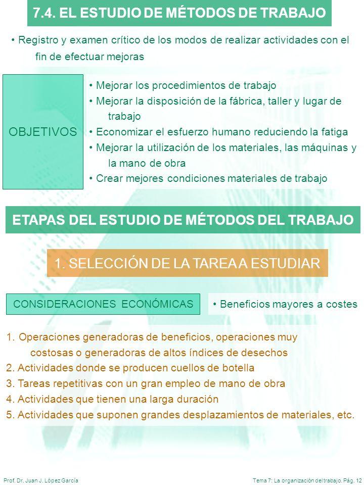 Tema 7: La organización del trabajo. Pág. 12Prof. Dr. Juan J. López García Registro y examen crítico de los modos de realizar actividades con el fin d