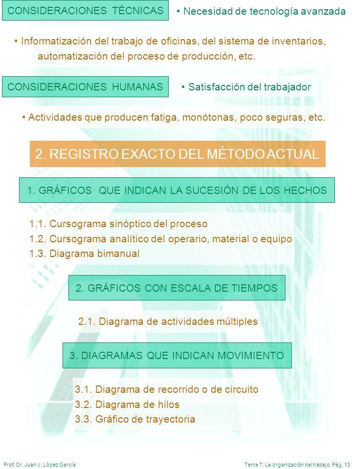 Tema 7: La organización del trabajo. Pág. 13Prof. Dr. Juan J. López García CONSIDERACIONES TÉCNICAS Necesidad de tecnología avanzada Informatización d