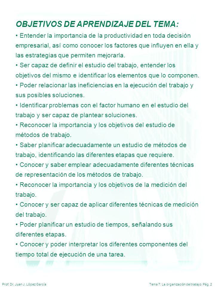 Tema 7: La organización del trabajo. Pág. 2Prof. Dr. Juan J. López García OBJETIVOS DE APRENDIZAJE DEL TEMA: Entender la importancia de la productivid