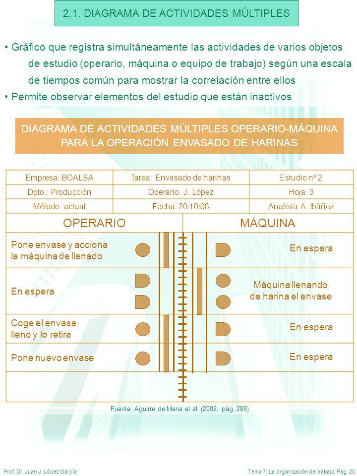 Tema 7: La organización del trabajo. Pág. 20Prof. Dr. Juan J. López García 2.1. DIAGRAMA DE ACTIVIDADES MÚLTIPLES Gráfico que registra simultáneamente