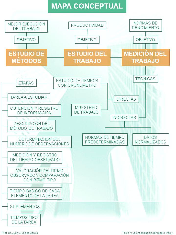 Tema 7: La organización del trabajo. Pág. 4Prof. Dr. Juan J. López García MAPA CONCEPTUAL ESTUDIO DE MÉTODOS MEDICIÓN DEL TRABAJO ETAPAS OBTENCIÓN Y R