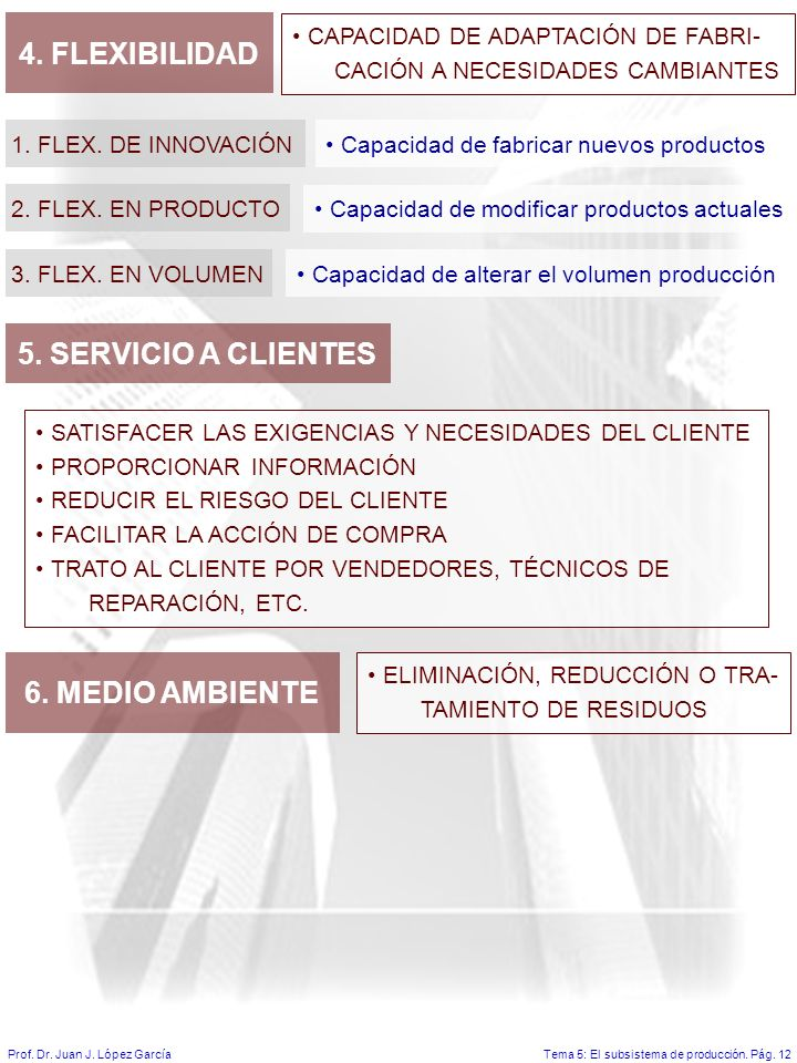 Tema 5: El subsistema de producción.Pág. 12Prof. Dr.