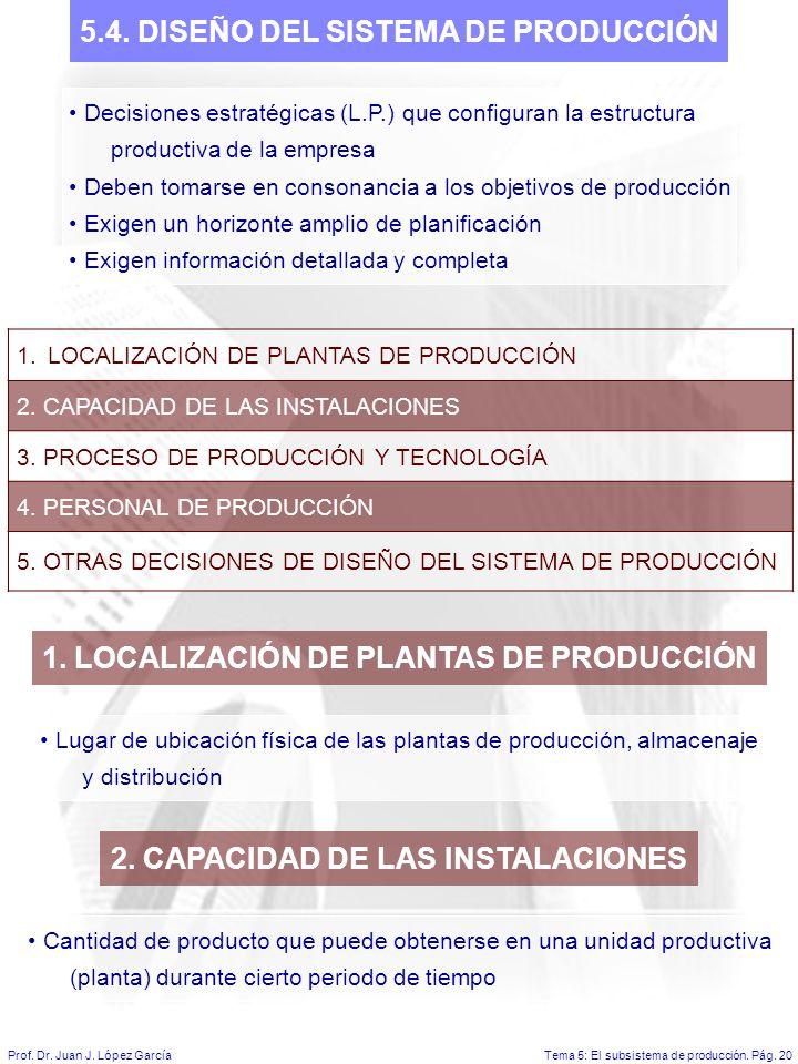 Tema 5: El subsistema de producción.Pág. 20Prof. Dr.
