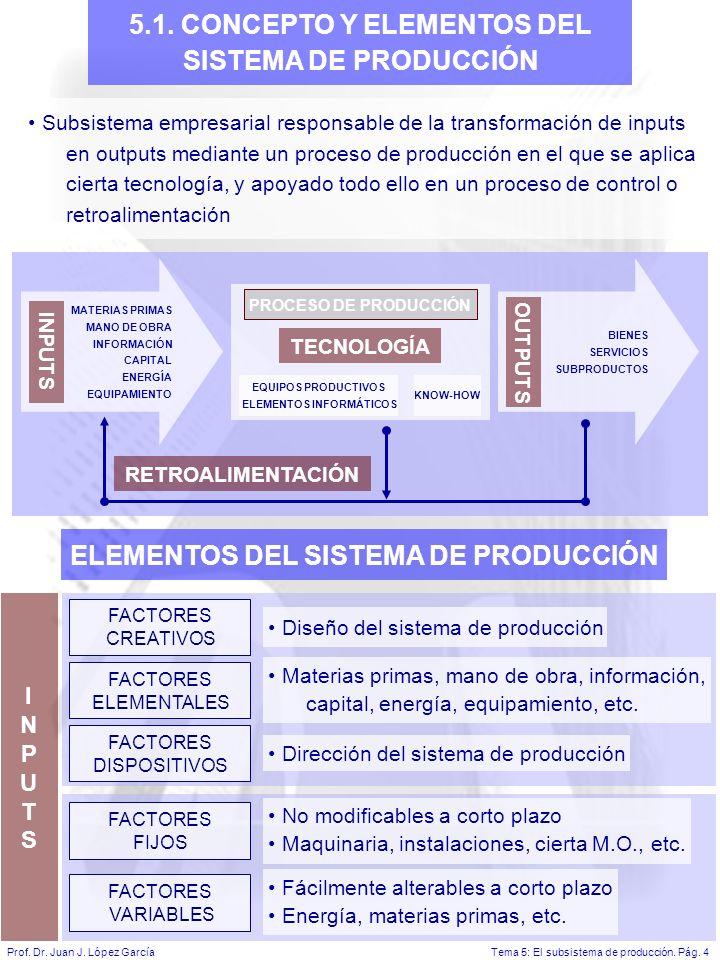 Tema 5: El subsistema de producción.Pág. 4Prof. Dr.