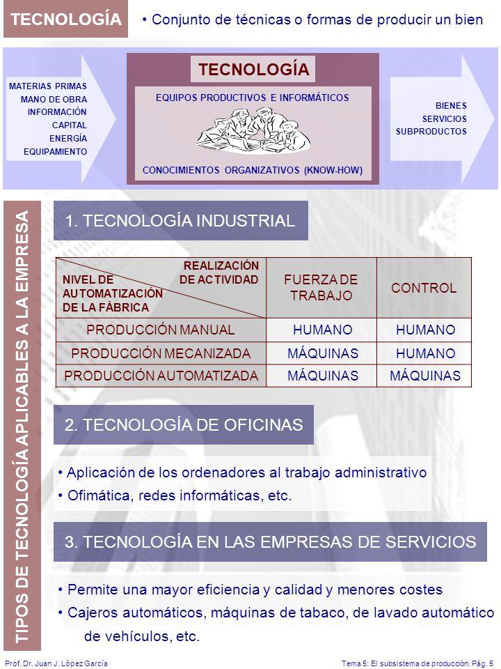 Tema 5: El subsistema de producción.Pág. 5Prof. Dr.