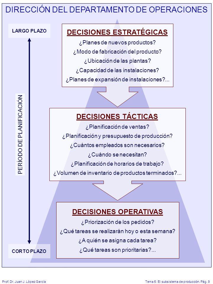 Tema 5: El subsistema de producción.Pág. 9Prof. Dr.