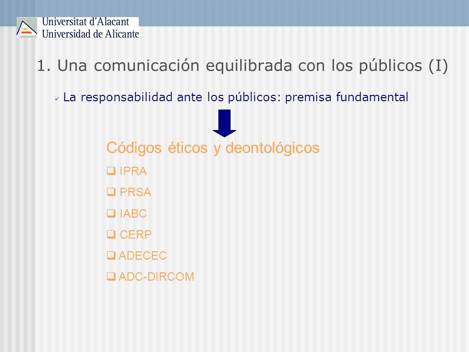 1. Una comunicación equilibrada con los públicos (I) La responsabilidad ante los públicos: premisa fundamental Códigos éticos y deontológicos IPRA PRS