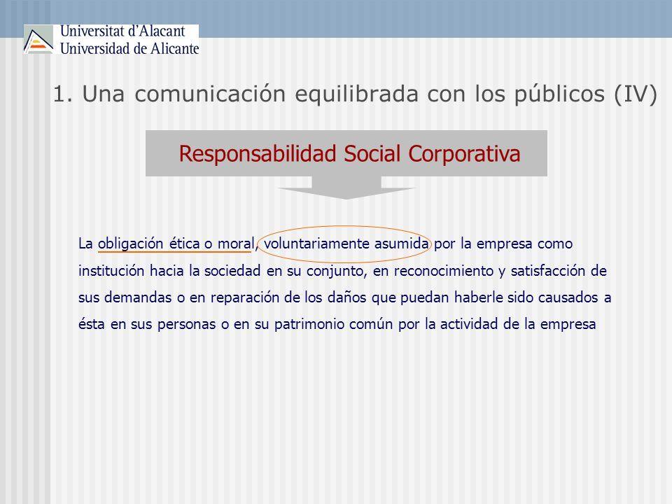 1. Una comunicación equilibrada con los públicos (IV) Responsabilidad Social Corporativa La obligación ética o moral, voluntariamente asumida por la e