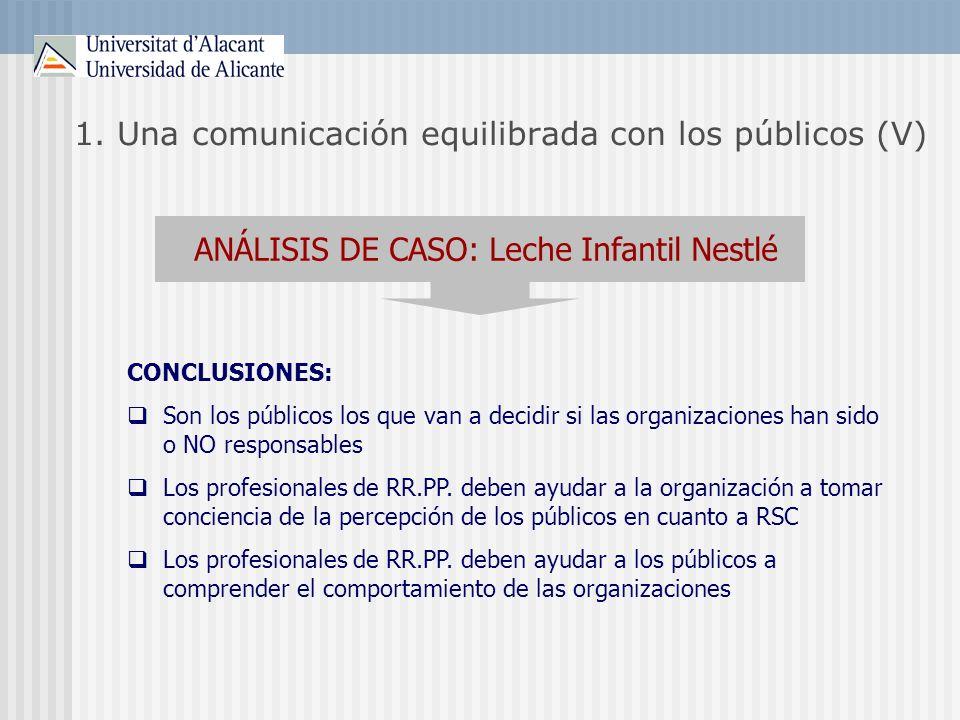 1. Una comunicación equilibrada con los públicos (V) ANÁLISIS DE CASO: Leche Infantil Nestlé CONCLUSIONES: Son los públicos los que van a decidir si l