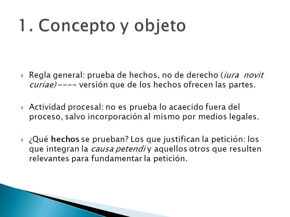 Regla general: prueba de hechos, no de derecho (iura novit curiae) ---- versión que de los hechos ofrecen las partes. Actividad procesal: no es prueba