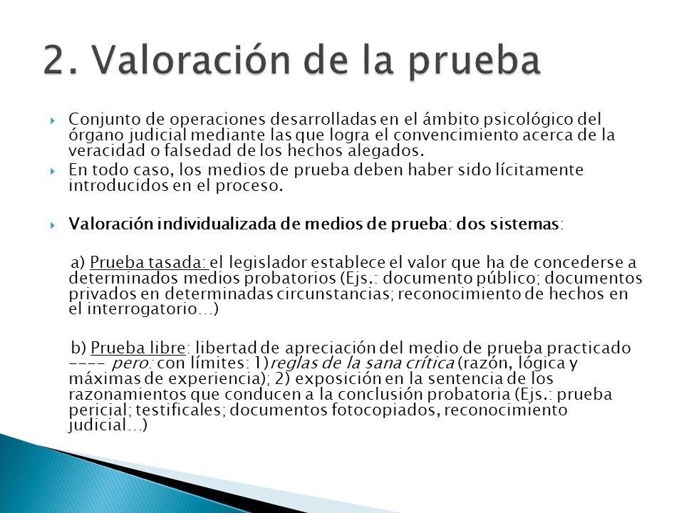 Conjunto de operaciones desarrolladas en el ámbito psicológico del órgano judicial mediante las que logra el convencimiento acerca de la veracidad o f