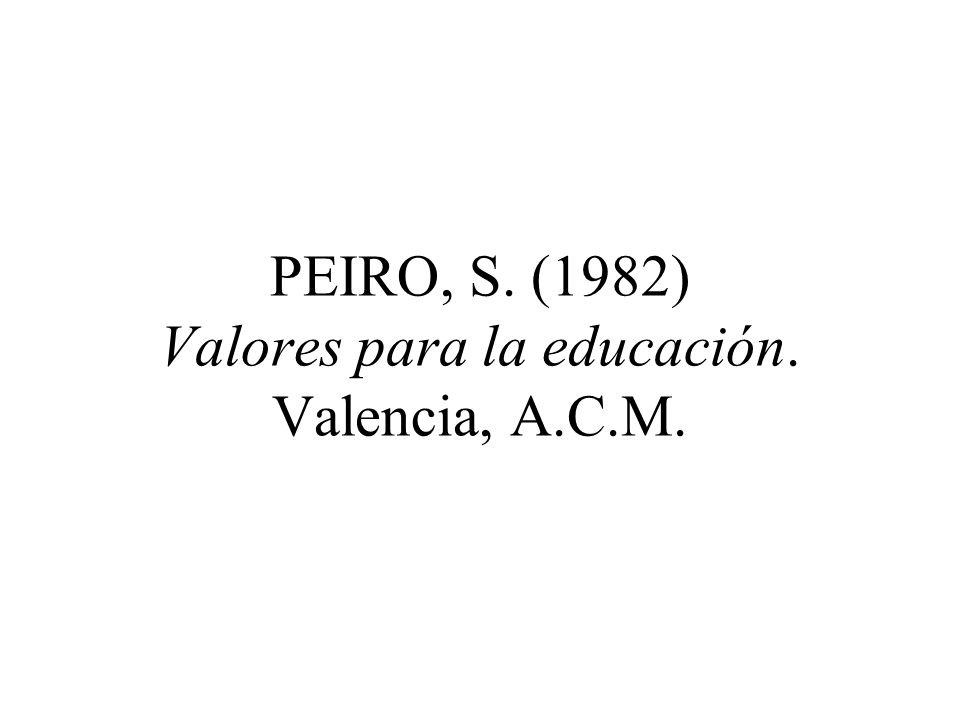 PEIRO, S. (1982) El ideario educativo. Axiología e interdisciplinariedad. Madrid, Narcea.