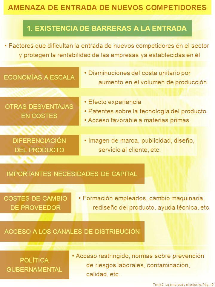 Tema 2: La empresa y el entorno. Pág. 10 AMENAZA DE ENTRADA DE NUEVOS COMPETIDORES ECONOMÍAS A ESCALA Disminuciones del coste unitario por aumento en
