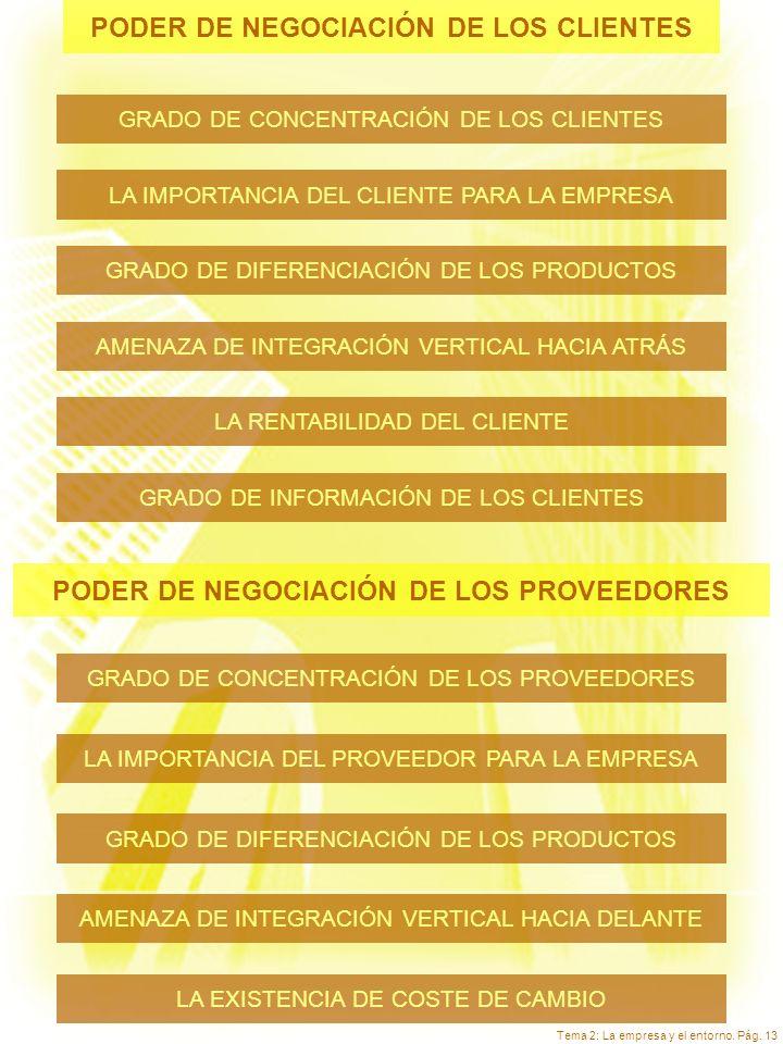 Tema 2: La empresa y el entorno. Pág. 13 PODER DE NEGOCIACIÓN DE LOS CLIENTES GRADO DE INFORMACIÓN DE LOS CLIENTES LA IMPORTANCIA DEL CLIENTE PARA LA