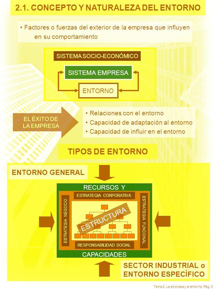 Tema 2: La empresa y el entorno. Pág. 3 2.1. CONCEPTO Y NATURALEZA DEL ENTORNO Factores o fuerzas del exterior de la empresa que influyen en su compor