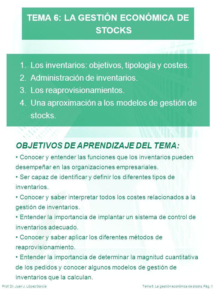 Tema 6: La gestión económica de stocks. Pág. 1Prof. Dr. Juan J. López García TEMA 6: LA GESTIÓN ECONÓMICA DE STOCKS 1.Los inventarios: objetivos, tipo