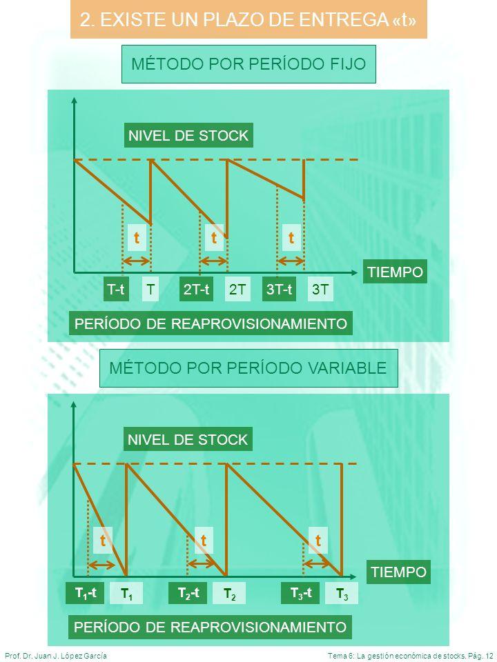 Tema 6: La gestión económica de stocks. Pág. 12Prof. Dr. Juan J. López García 2. EXISTE UN PLAZO DE ENTREGA « t » MÉTODO POR PERÍODO FIJO MÉTODO POR P