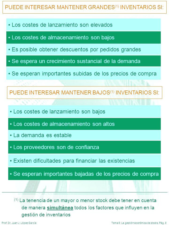 Tema 6: La gestión económica de stocks. Pág. 8Prof. Dr. Juan J. López García Los costes de lanzamiento son elevados Los costes de almacenamiento son b