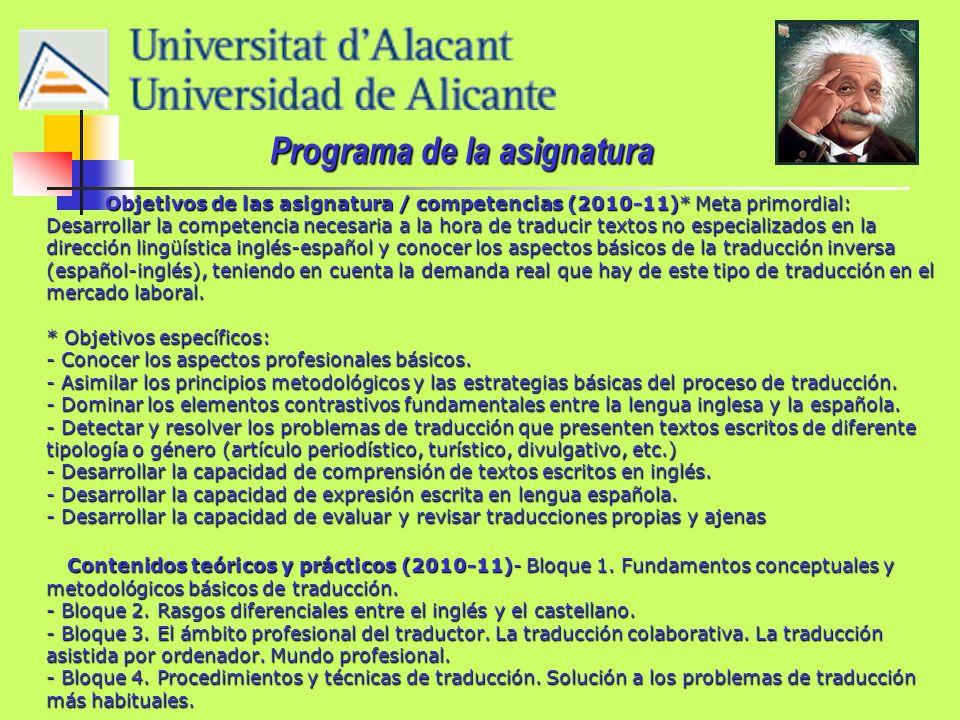 Metodología docente (2010-11) - Clases teóricas y prácticas.