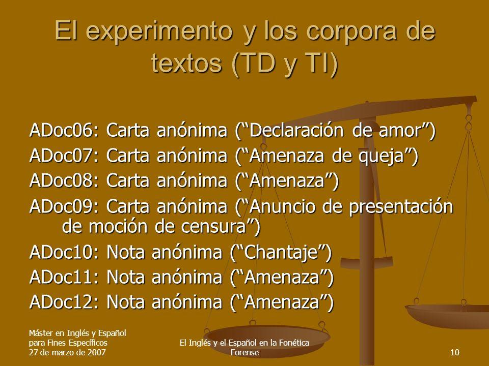 Máster en Inglés y Español para Fines Específicos 27 de marzo de 2007 El Inglés y el Español en la Fonética Forense10 El experimento y los corpora de