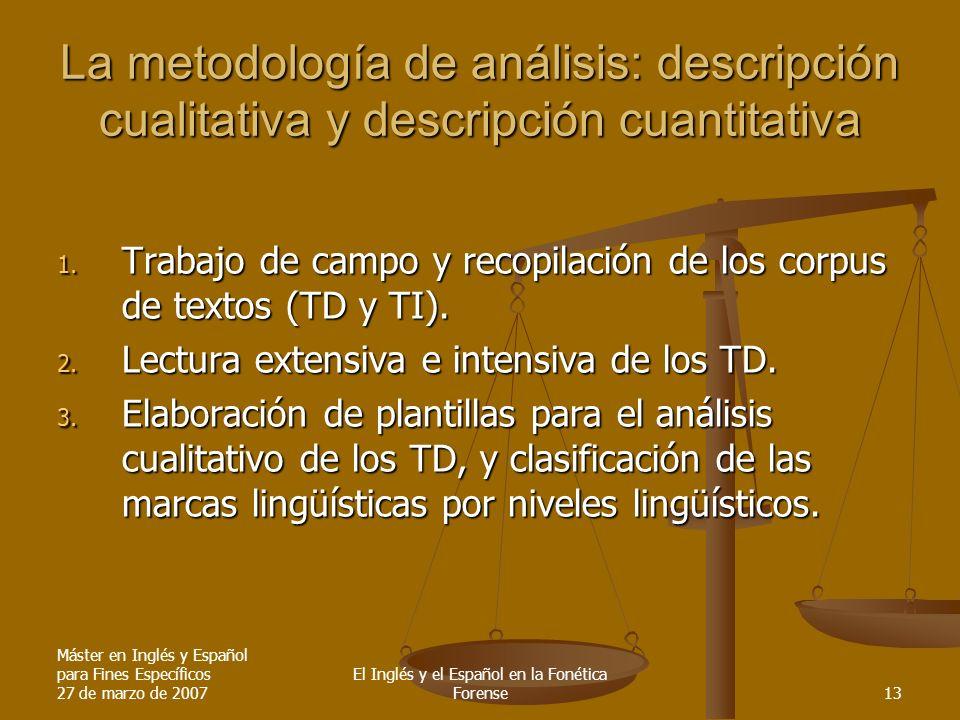 Máster en Inglés y Español para Fines Específicos 27 de marzo de 2007 El Inglés y el Español en la Fonética Forense13 La metodología de análisis: desc