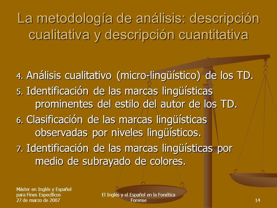 Máster en Inglés y Español para Fines Específicos 27 de marzo de 2007 El Inglés y el Español en la Fonética Forense14 La metodología de análisis: descripción cualitativa y descripción cuantitativa 4.