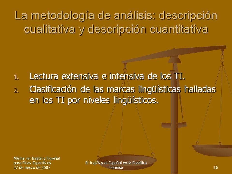 Máster en Inglés y Español para Fines Específicos 27 de marzo de 2007 El Inglés y el Español en la Fonética Forense16 La metodología de análisis: desc