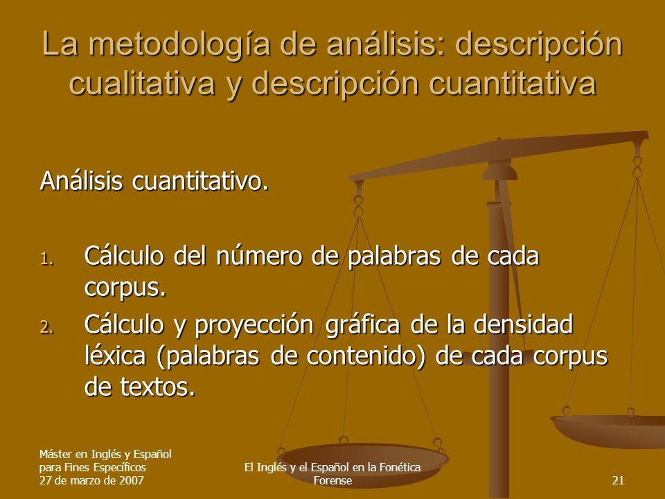 Máster en Inglés y Español para Fines Específicos 27 de marzo de 2007 El Inglés y el Español en la Fonética Forense21 La metodología de análisis: desc