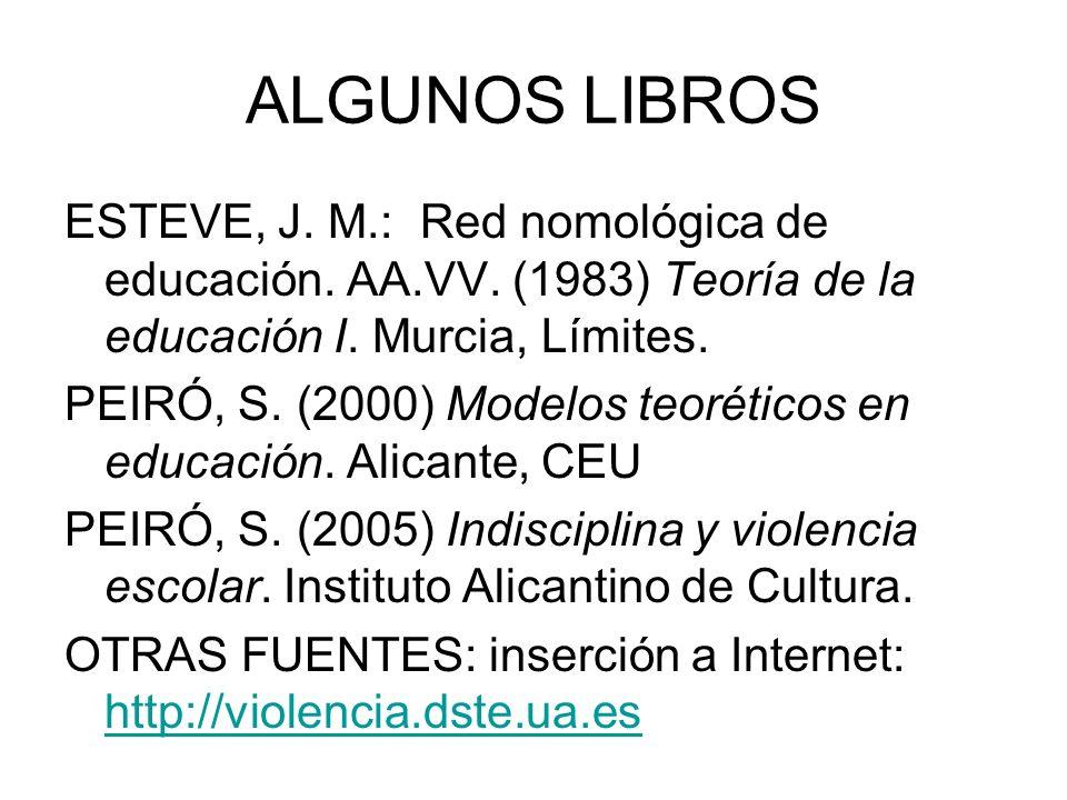 ALGUNOS LIBROS ESTEVE, J. M.: Red nomológica de educación. AA.VV. (1983) Teoría de la educación I. Murcia, Límites. PEIRÓ, S. (2000) Modelos teorético