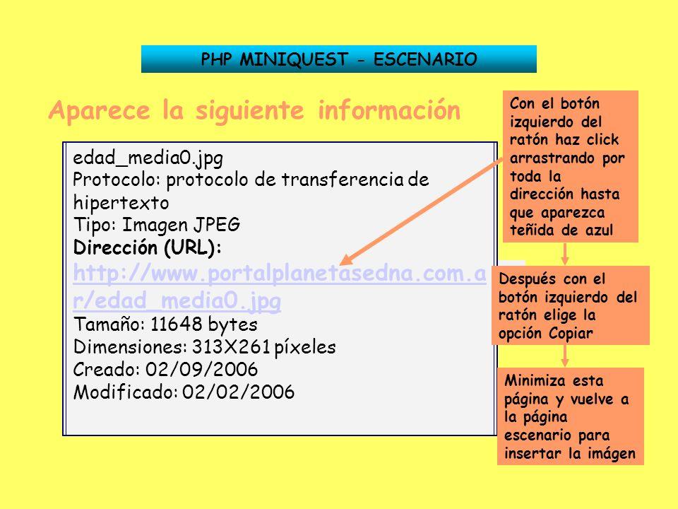 Aparece la siguiente información Dirección (URL): http://www.portalplanetasedna.com.ar/edad_media0.jpghttp://www.portalplanetasedna.com.ar/edad_media0