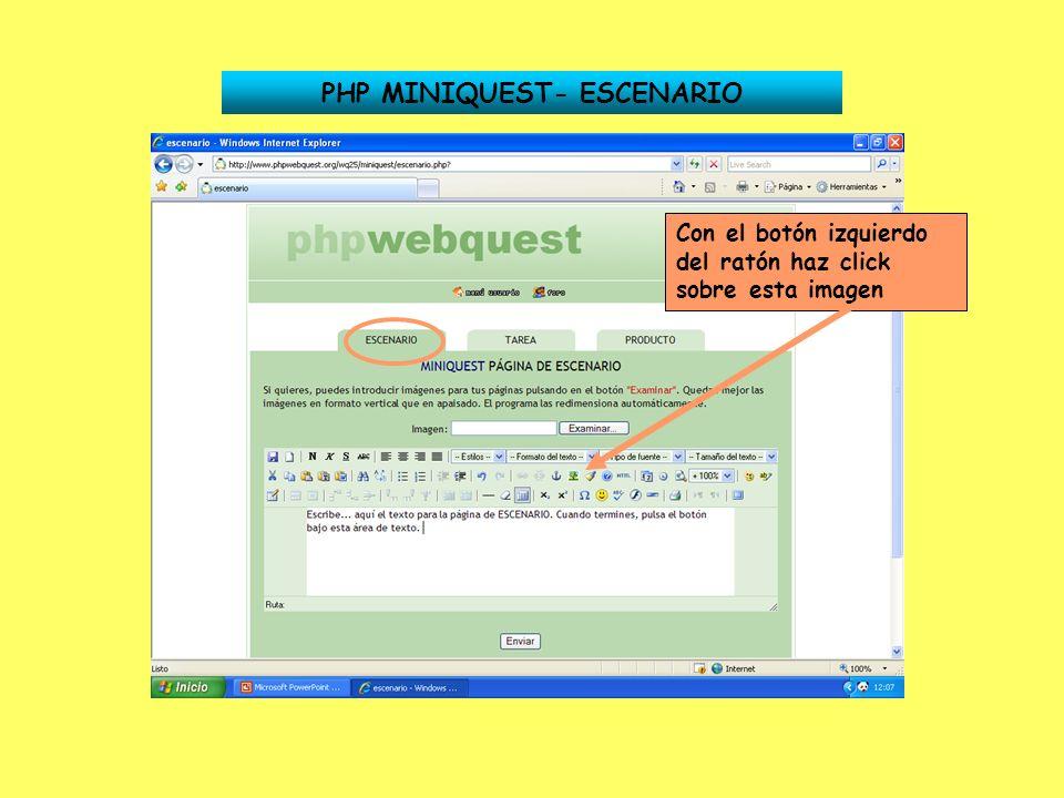 PHP MINIQUEST- ESCENARIO Con el botón izquierdo del ratón haz click sobre esta imagen