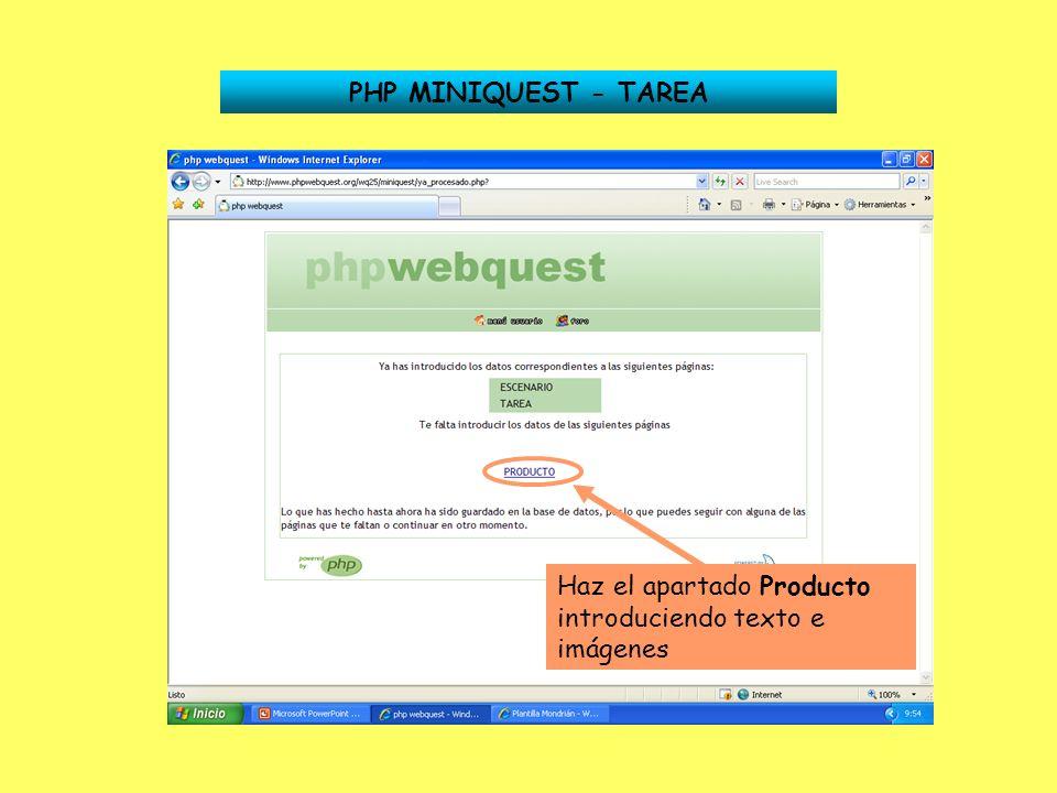 PHP MINIQUEST - TAREA Haz el apartado Producto introduciendo texto e imágenes