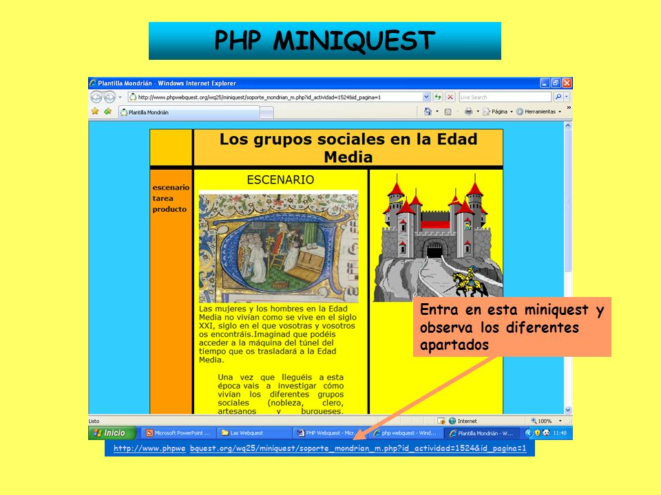 PHP MINIQUEST - ESCENARIO Estás en el apartado Escenario La pestaña aparece con otro color Para insertar o cambiar una imagen de la plantilla, haz click en Examinar y elige una de las imágenes que has guardado en la carpeta Mis Imágenes