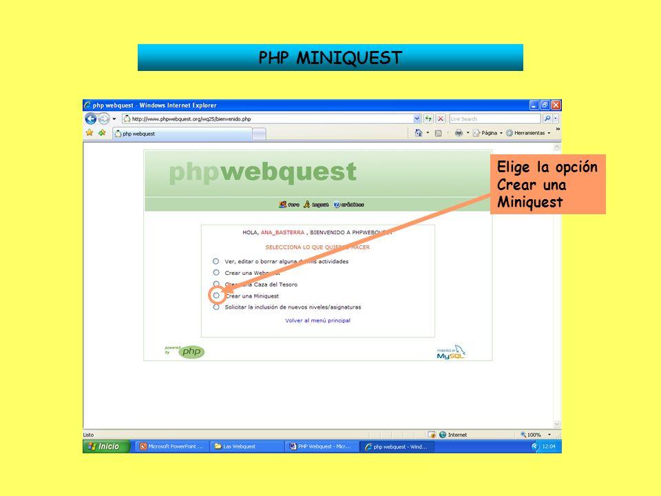 PHP MINIQUEST - TAREA Estás en el apartado Tarea Tienes que dar los mismos pasos que en el apartado Escenario 1 Introduce una imagen.
