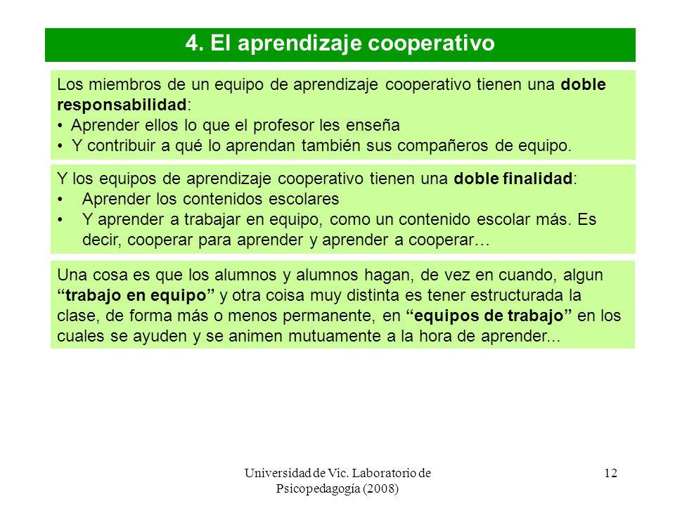 Universidad de Vic. Laboratorio de Psicopedagogía (2008) 11 4. El aprendizaje cooperativo El aprendizaje cooperativo es utilizar con una finalidad did