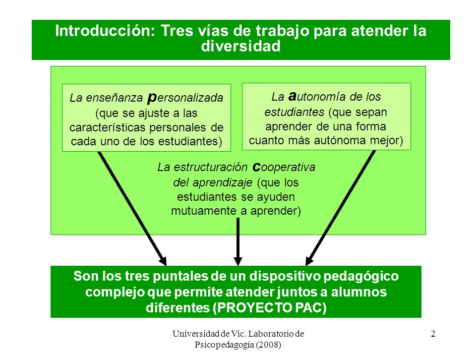 Universidad de Vic. Laboratorio de Psicopedagogía (2008) 1 PROGRAMA CA/AC: Cooperar para Aprender / Aprender a Cooperar (I) Proyecto PAC: Programa did