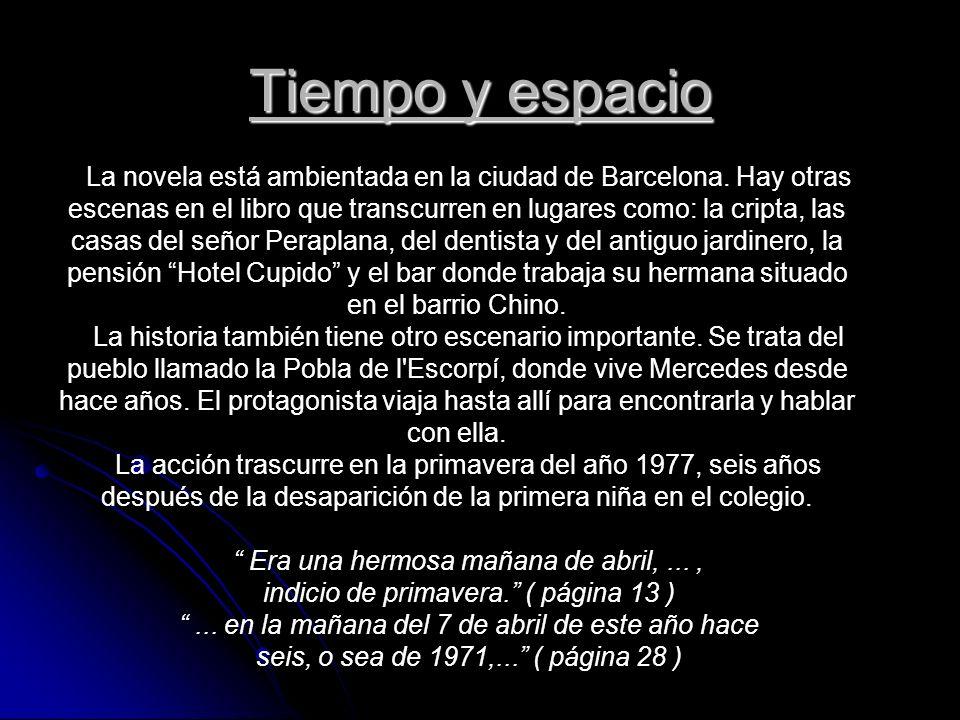 Tiempo y espacio La novela está ambientada en la ciudad de Barcelona. Hay otras escenas en el libro que transcurren en lugares como: la cripta, las ca