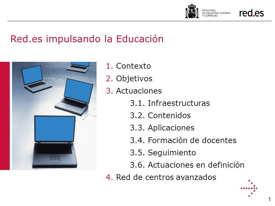 1 Red.es impulsando la Educación 1. Contexto 2. Objetivos 3.