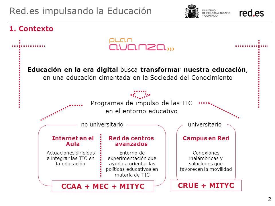 2 1. Contexto Educación en la era digital busca transformar nuestra educación, en una educación cimentada en la Sociedad del Conocimiento Red.es impul
