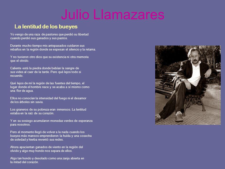 Julio Llamazares La lentitud de los bueyes Yo vengo de una raza de pastores que perdió su libertad cuando perdió sus ganados y sus pastos. Durante muc