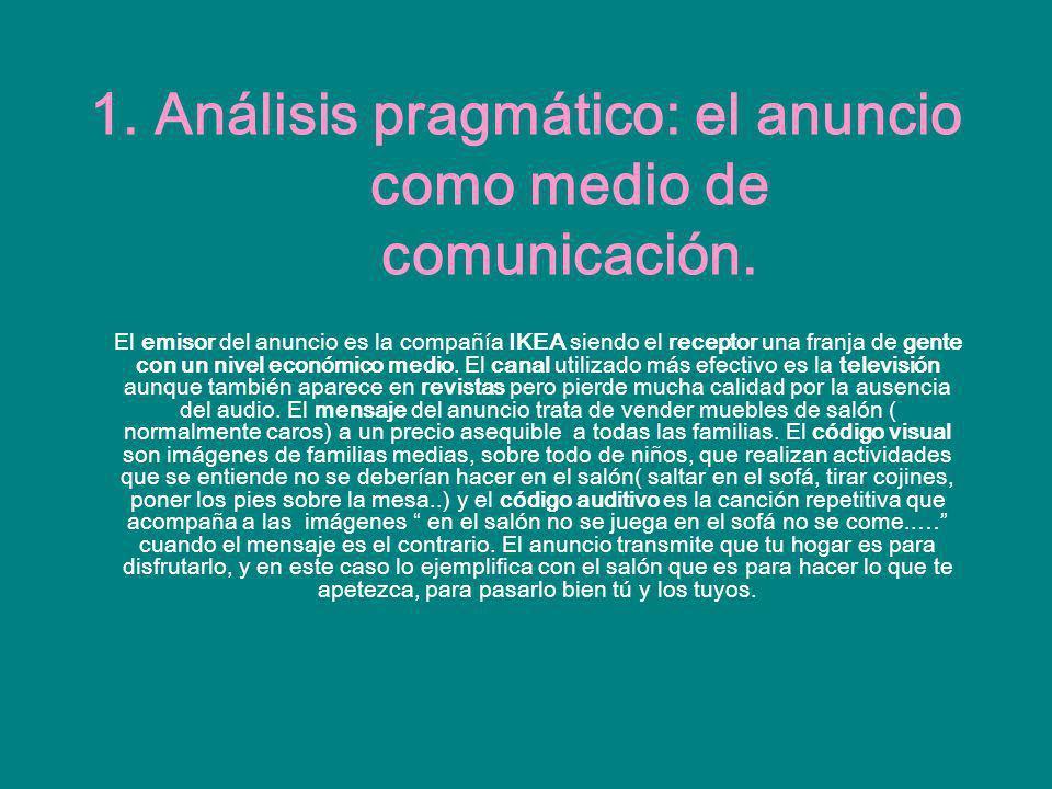 1. Análisis pragmático: el anuncio como medio de comunicación.