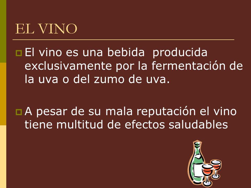EL VINO El vino es una bebida producida exclusivamente por la fermentación de la uva o del zumo de uva. A pesar de su mala reputación el vino tiene mu