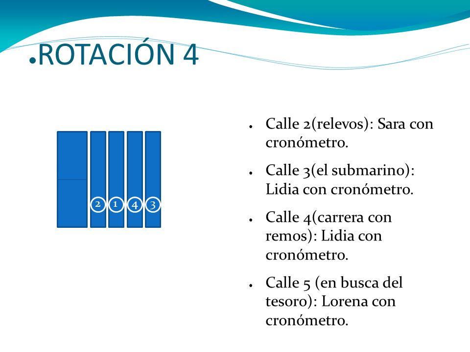 ROTACIÓN 4 Calle 2(relevos): Sara con cronómetro. Calle 3(el submarino): Lidia con cronómetro. Calle 4(carrera con remos): Lidia con cronómetro. Calle