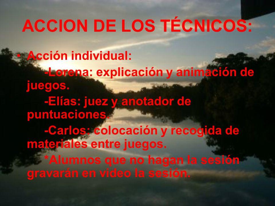 ACCIÓN DE LOS TÉCNICOS: Acción conjunta: -preparación del lugar y materiales necesarios para la jornada (1hora 30min. antes). -recepción y presentació