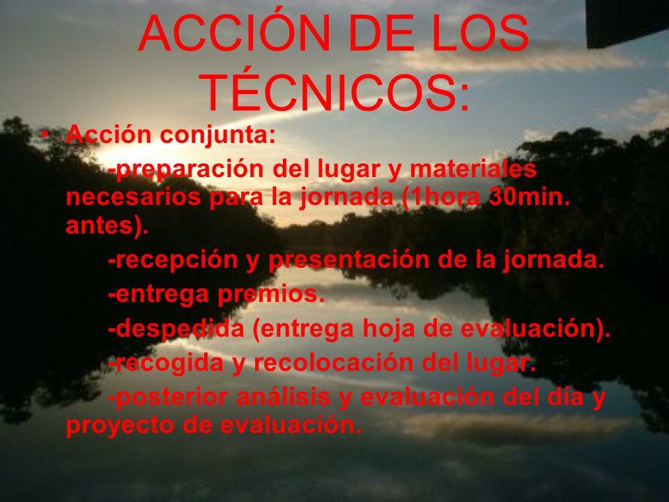 ACCIÓN DE LOS TÉCNICOS: Acción conjunta: -preparación del lugar y materiales necesarios para la jornada (1hora 30min.