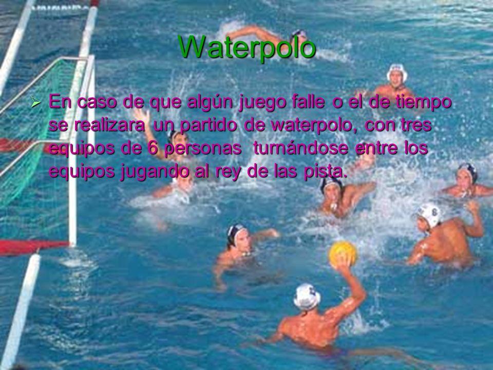 Waterpolo En caso de que algún juego falle o el de tiempo se realizara un partido de waterpolo, con tres equipos de 6 personas turnándose entre los eq