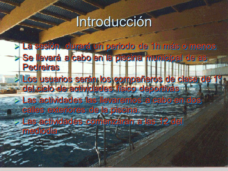 Introducción La sesión durará un periodo de 1h más o menos La sesión durará un periodo de 1h más o menos Se llevará a cabo en la piscina municipal de