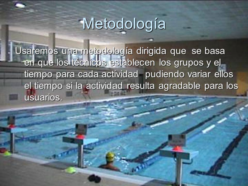 Metodología Usaremos una metodología dirigida que se basa en que los técnicos establecen los grupos y el tiempo para cada actividad pudiendo variar el
