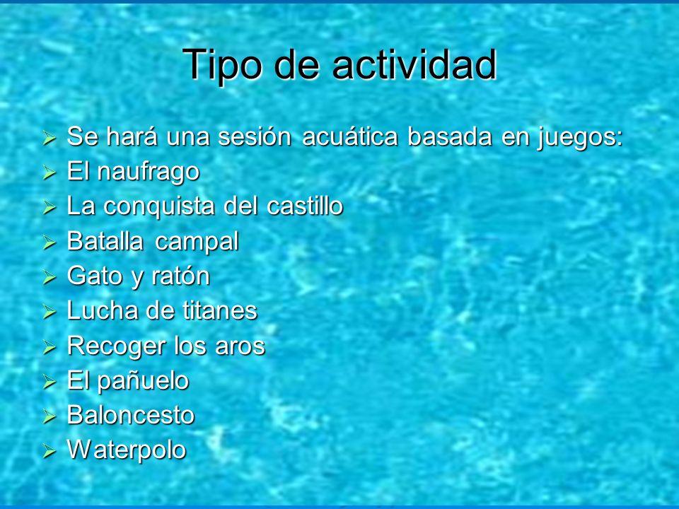 Tipo de actividad Se hará una sesión acuática basada en juegos: Se hará una sesión acuática basada en juegos: El naufrago El naufrago La conquista del